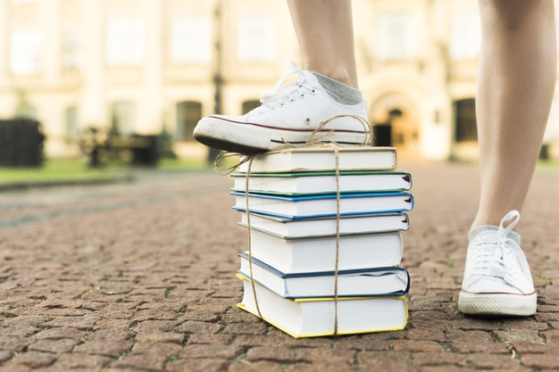 close up teenage girl stepping books 23 2148225320